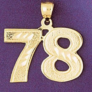 Number 78 Charm Pendant 14k Gold