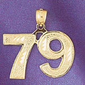 Number 79 Charm Pendant 14k Gold