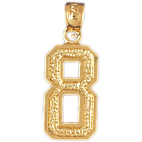 Number 8 Charm Pendant 14k Gold