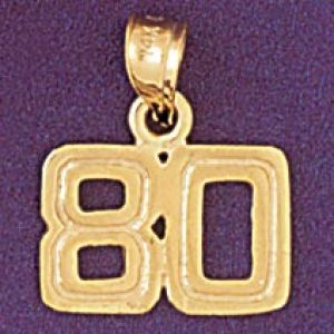 Number 80 Charm Pendant 14k Gold