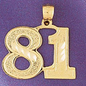 Number 81 Charm Pendant 14k Gold