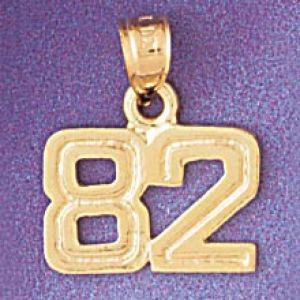 Number 82 Charm Pendant 14k Gold