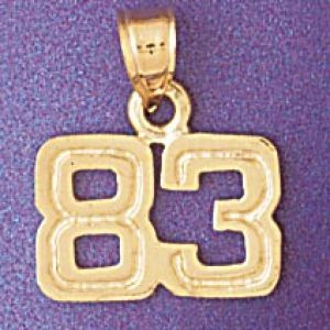 Number 83 Charm Pendant 14k Gold