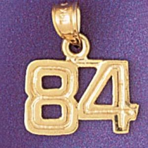 Number 84 Charm Pendant 14k Gold