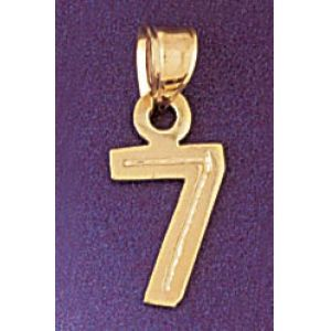 Number 7 Charm Pendant 14k Gold