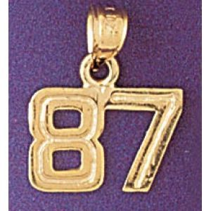 Number 87 Charm Pendant 14k Gold