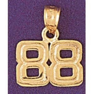Number 88 Charm Pendant 14k Gold