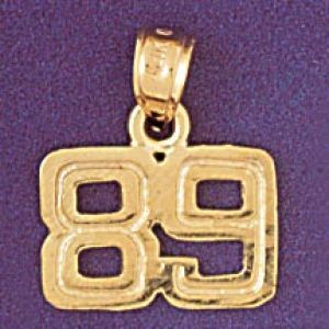Number 89 Charm Pendant 14k Gold