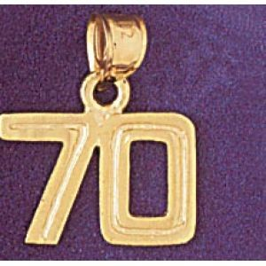 Number 70 Charm Pendant 14k Gold