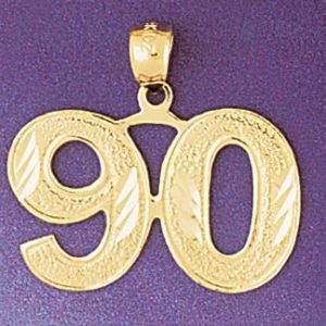Number 90 Charm Pendant 14k Gold