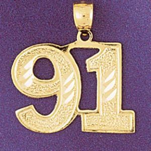 Number 91 Charm Pendant 14k Gold
