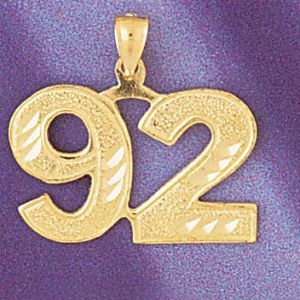 Number 92 Charm Pendant 14k Gold