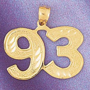 Number 93 Charm Pendant 14k Gold