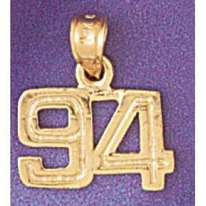 Number 94 Charm Pendant 14k Gold