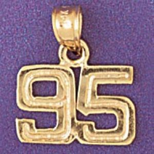 Number 95 Charm Pendant 14k Gold