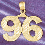 Number 96 Charm Pendant 14k Gold