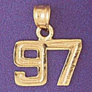 Number 97 Charm Pendant 14k Gold