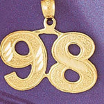 Number 98 Charm Pendant 14k Gold
