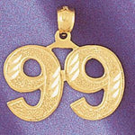 Number 99 Charm Pendant 14k Gold