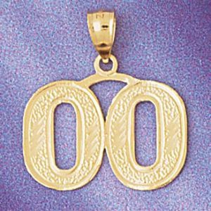 Number 00 Charm Pendant 14k Gold