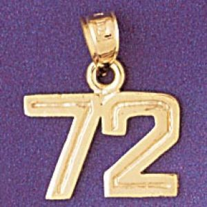 Number 72 Charm Pendant 14k Gold