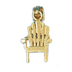 3D Beach Chair Charm Pendant 14k Gold