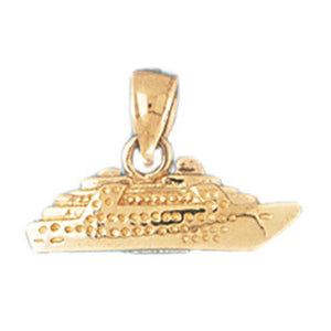 3D Cruise Ship Charm Pendant 14k Gold