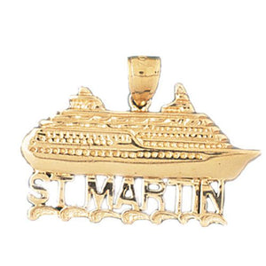 Cruise Ship Saint Martin Charm Pendant 14k Gold
