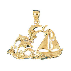 Dolphins and Ship Charm Pendant 14k Gold