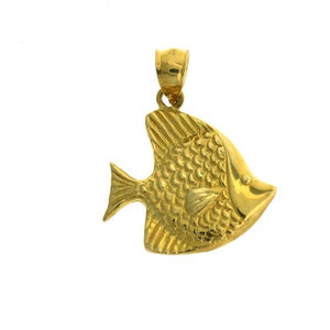 Angelfish Charm Pendant 14k Gold