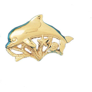 Dolphin, Shell, Starfish Charm Pendant 14k Gold