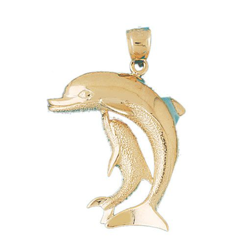 Dolphins Charm Pendant 14k Gold