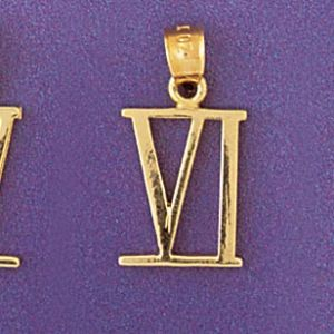 Greek Number 6 Charm Pendant 14k Gold