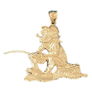 Fisherman Charm Pendant 14k Gold