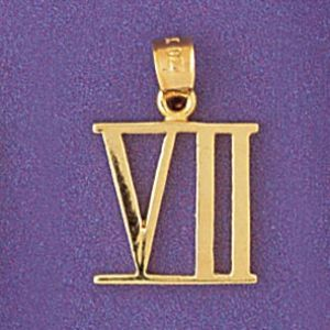 Greek Number 7 Charm Pendant 14k Gold
