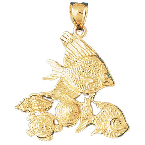 Angelfish Goldfish Sea-Turtle Shell Charm Pendant 14k Gold