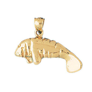 Manatees Sea Cow Charm Pendant 14k Gold