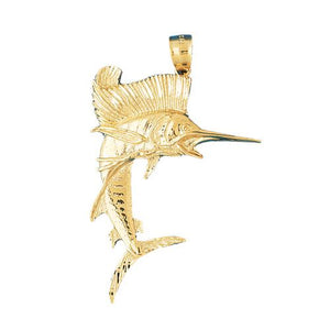 Marlin Sailfish Charm Pendant 14k Gold