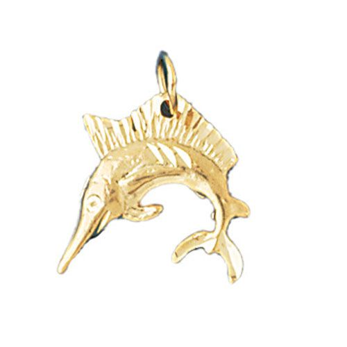 Marlin Sailfish Dimensional Charm Pendant 14k Gold