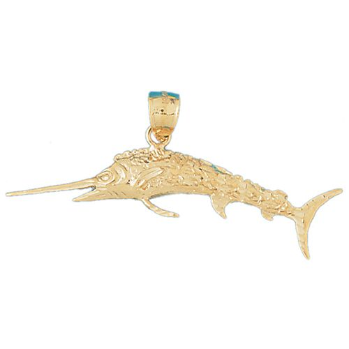 Marlin Trout Fish Charm Pendant 14k Gold
