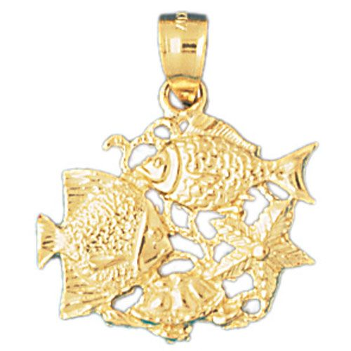 Angelfish Goldfish Charm Pendant 14k Gold