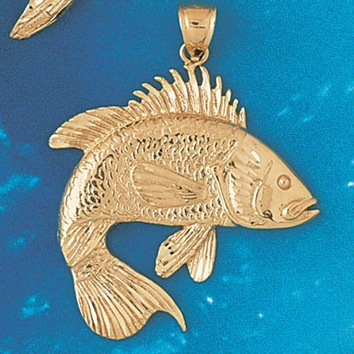 Assorted Fish Sea Bass Snook King Mackerel Charm Pendant 14k Gold