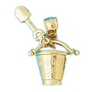Beach Bucket and Shovel Charm Pendant 14k Gold
