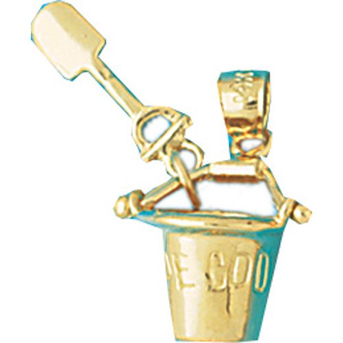 Cape Cod Beach Bucket and Shovel Charm Pendant 14k Gold