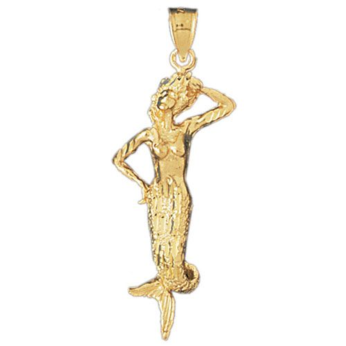 Mermaid Charm Pendant 14k Gold
