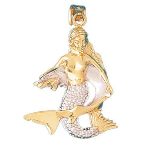 3D Mermaid with Shark Charm Pendant 14k Two Tone Gold