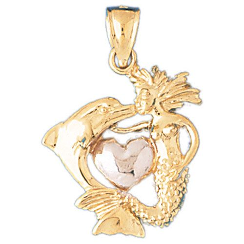 3D Mermaid Dolphin Heart Charm Pendant 14k Two Tone Gold