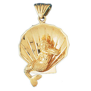 Mermaid on Shell 3 Dimensional Charm Pendant 14k Gold