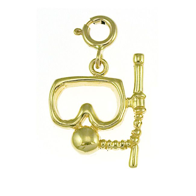 Scuba Diving Diver's Mask Charm Pendant 14k Gold