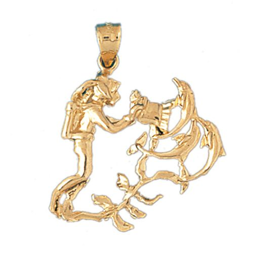 Scuba Diving Diver with Dolphins Charm Pendant 14k Gold